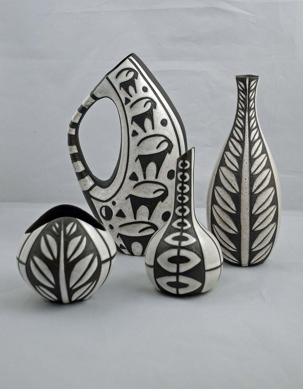 keramik bornholm .Antikvitet.  Fire vaser fra Bornholm Keramik keramik bornholm